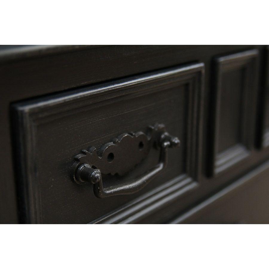 Buffet bas noir 4 portes en bois - Romance