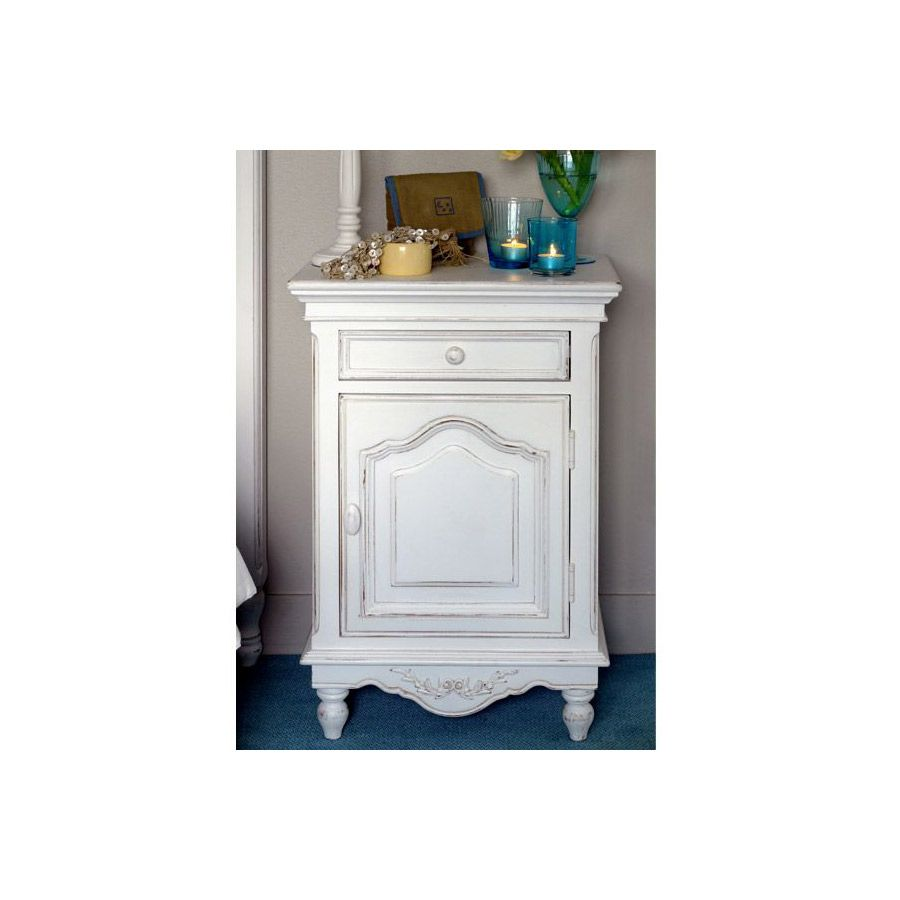 Table de chevet blanche en bois - Romance