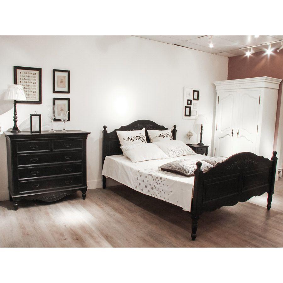 Table de chevet noire en bois - Romance