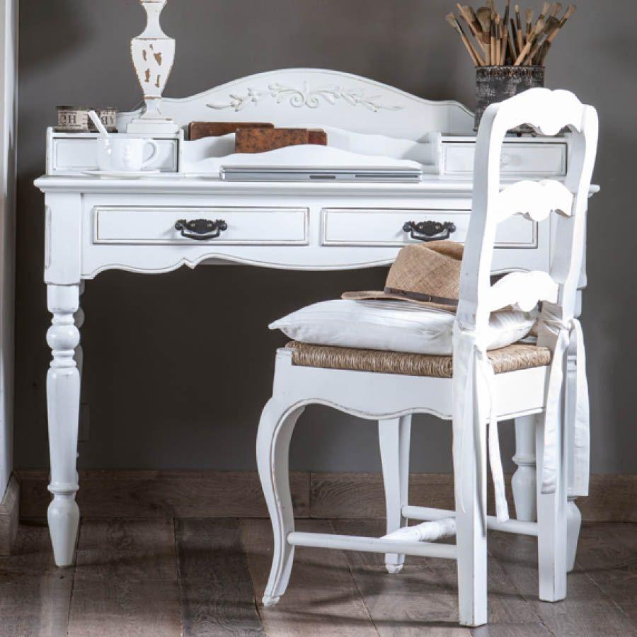 Secrétaire blanc 4 tiroirs en bois - Romance