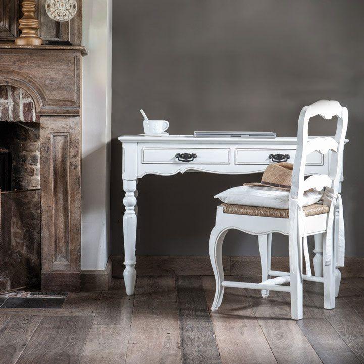 Bureau 2 tiroirs en bois blanc - Romance
