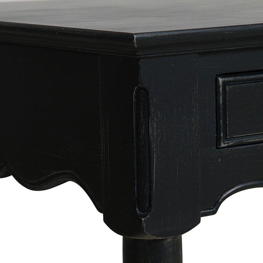 Bureau 2 tiroirs en bois noir - Romance