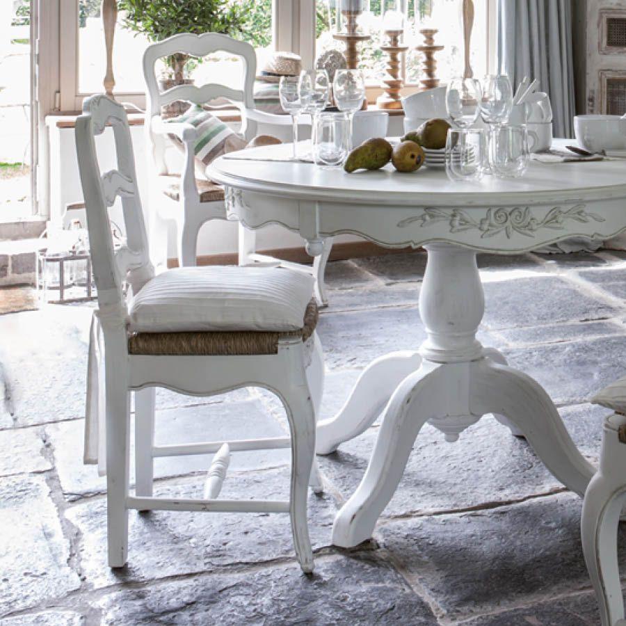Chaise paillée en bois blanc vieilli - Romance