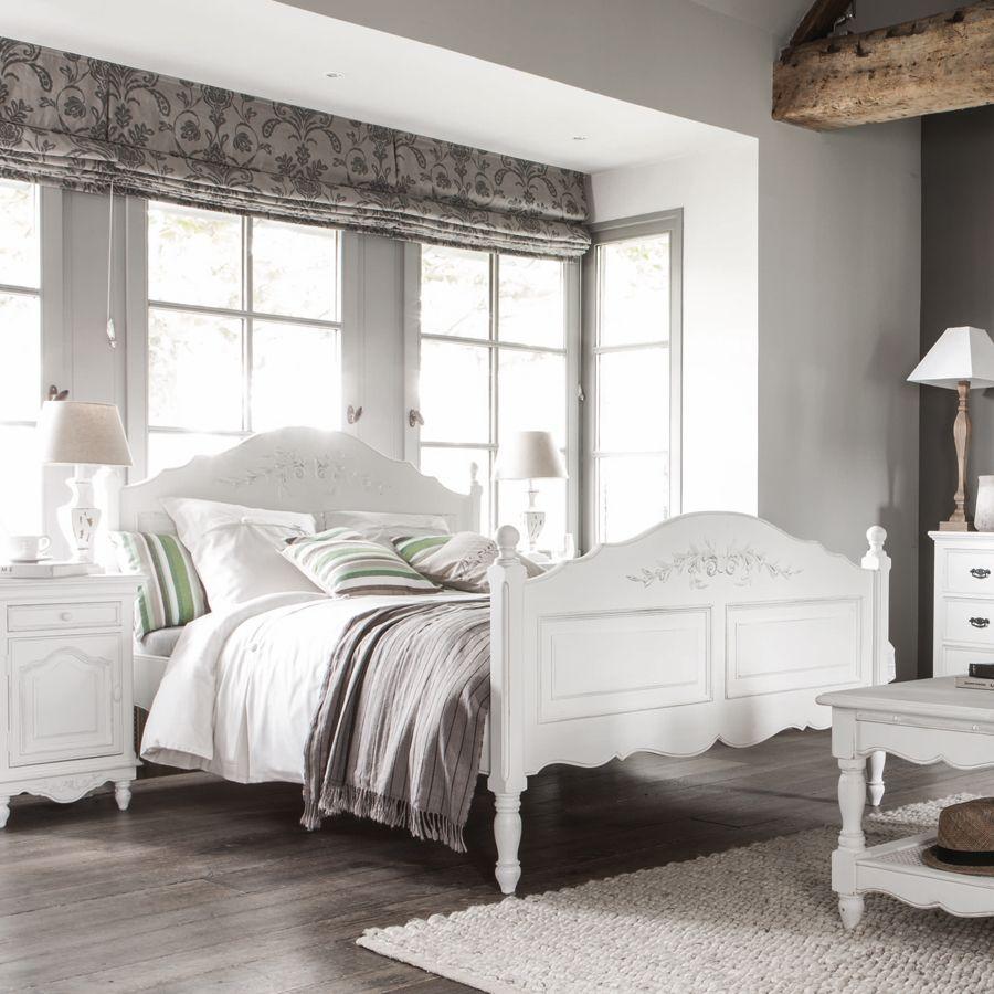Lit 160x200 avec tiroirs en bois blanc vieilli - Romance ...