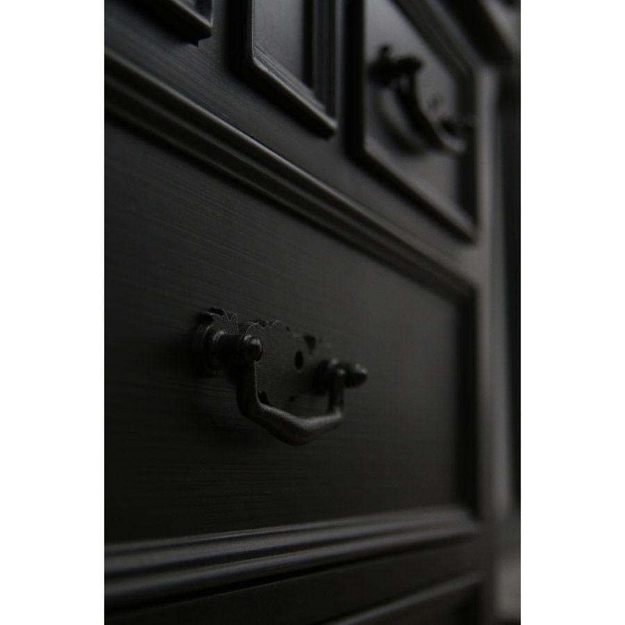 Lit 160x200 avec tiroirs en bois noir - Romance