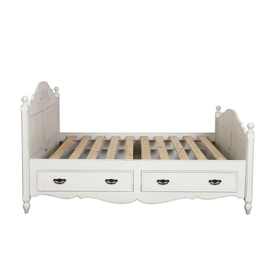 Lit 140x190 avec tiroirs en bois blanc vieilli - Romance