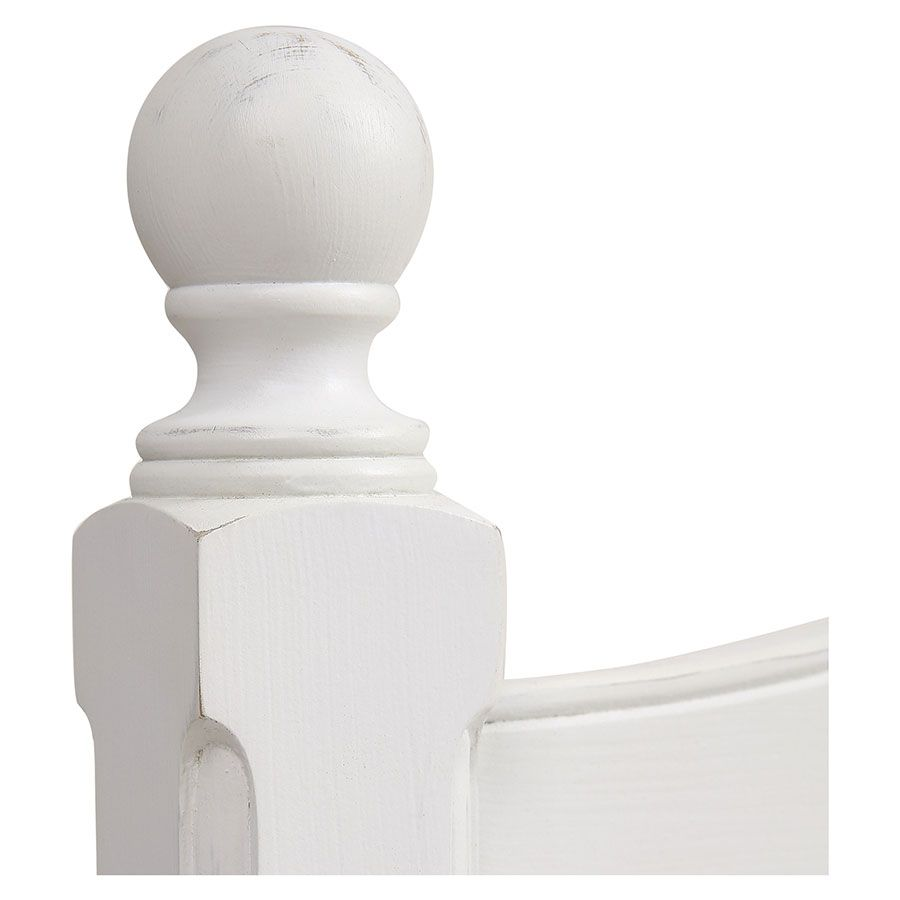 Lit pour literie 180x200 cm en bois blanc vieilli - Romance