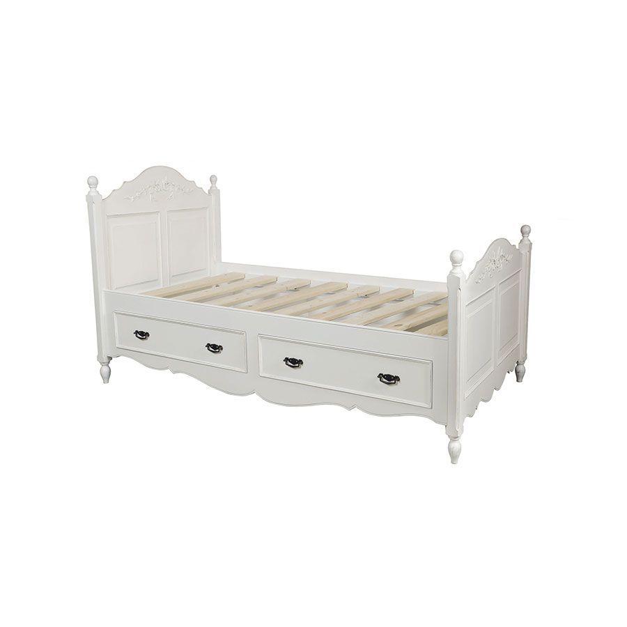 Lit enfant à tiroirs 90x190 cm blanc satiné - Romance