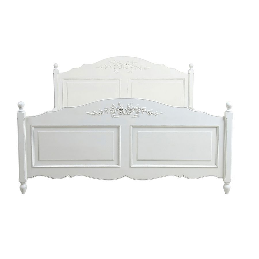 Lit 180x200 avec tiroirs en bois blanc - Romance