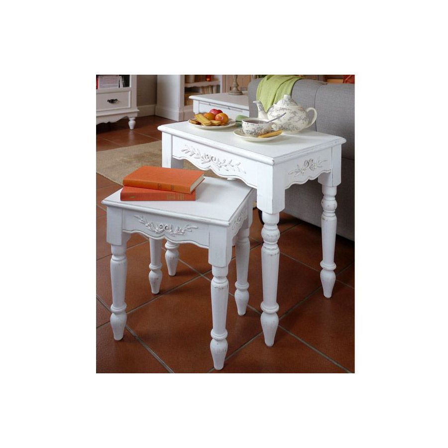 Tables gigognes blanches - Romance