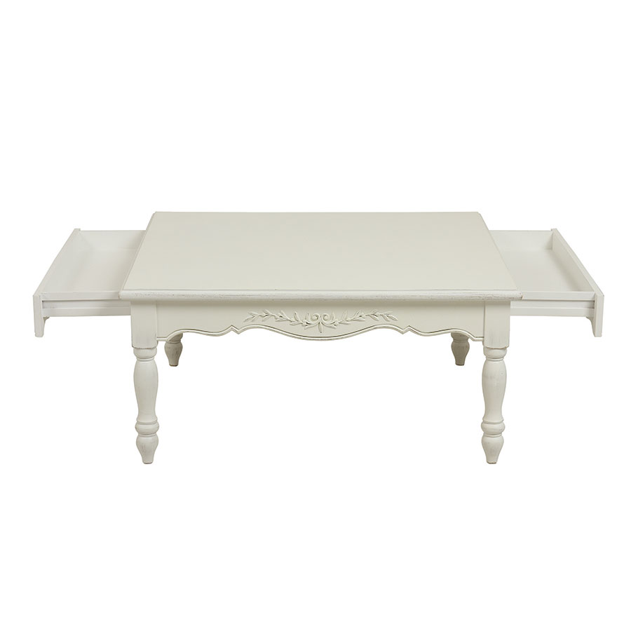 En Carrée Bois Basse Blanche Romance Table 4RjL35A