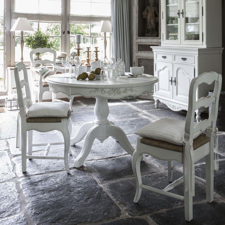 Table ronde extensible blanche 6 à 8 personnes - Romance