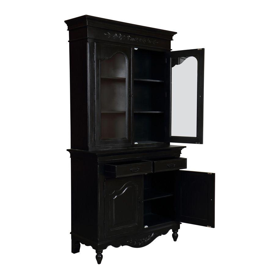 Buffet vaisselier noir 2 portes en bois - Romance