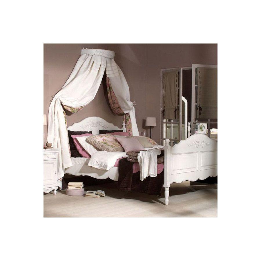 Ciel de lit en bois blanc vieilli - Romance