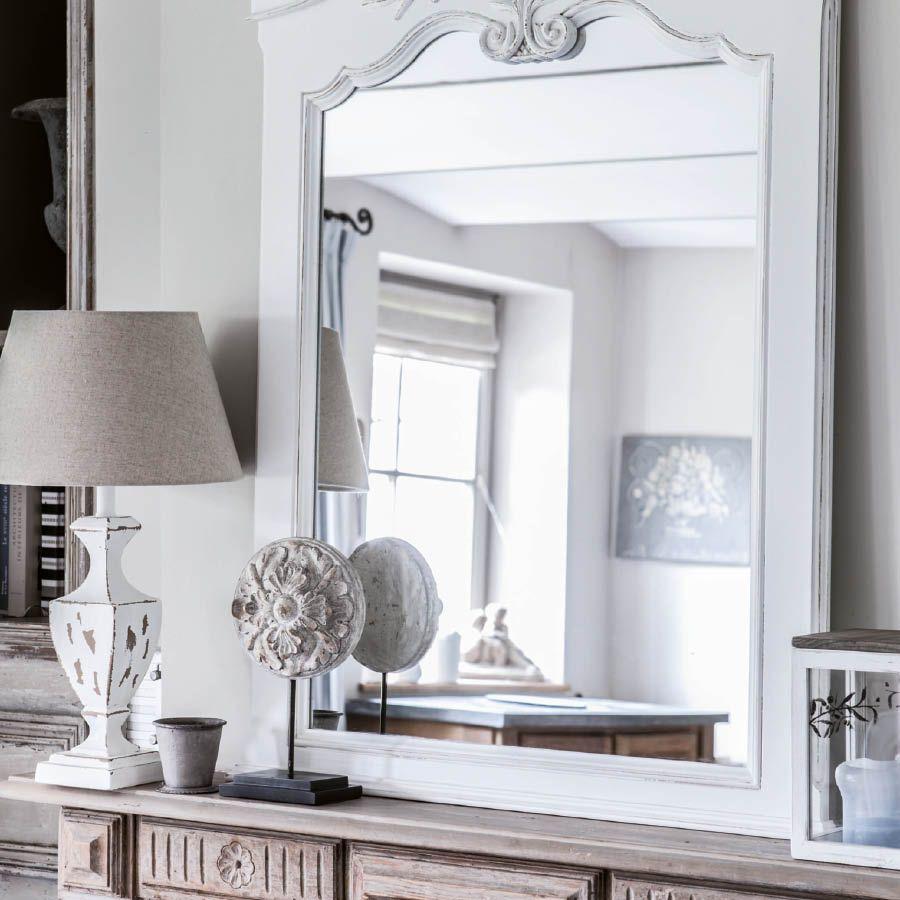 Miroir trumeau blanc en bois - Romance