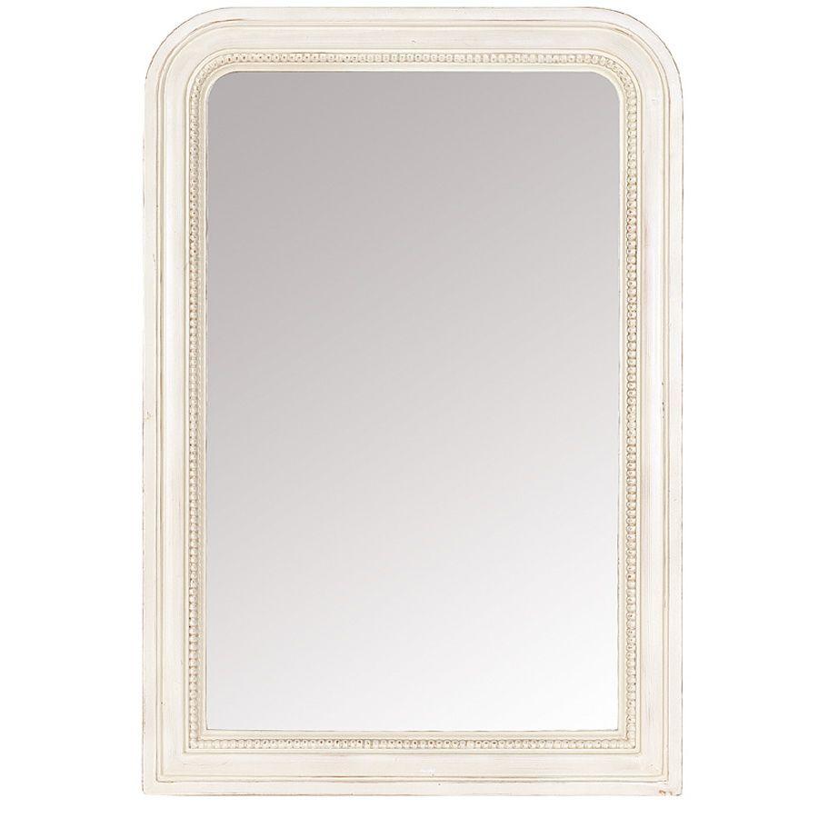 Miroir rectangulaire perlé blanc - Romance