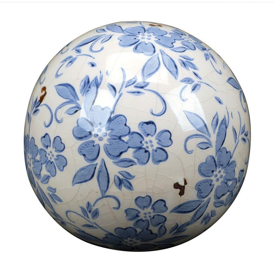 Boules en céramique motif floral (lot de 2)