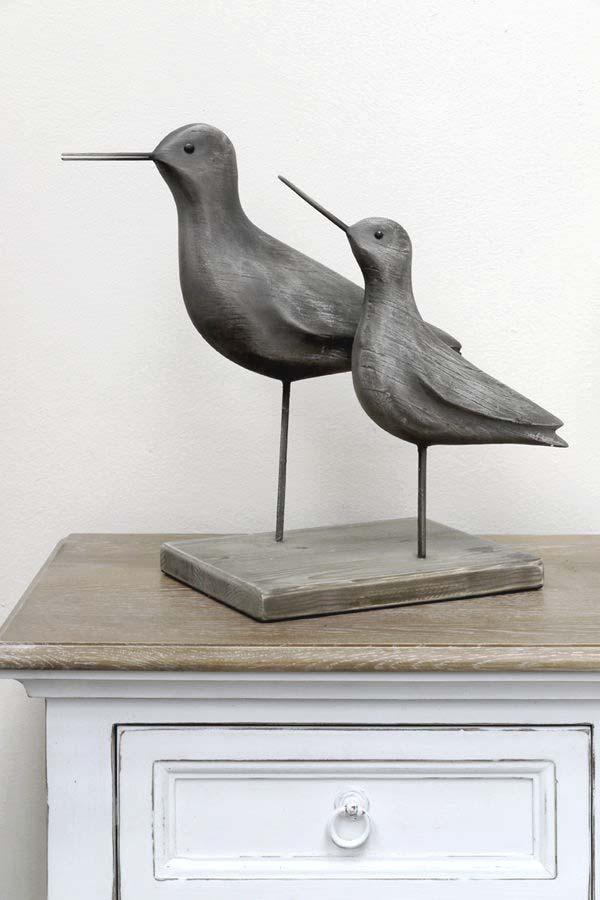 Oiseaux décoratifs en bois et résine