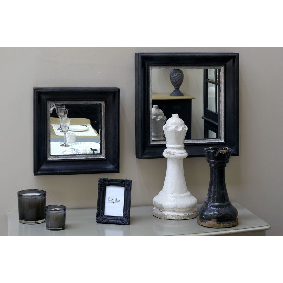 Miroir carré en bois noir et argent