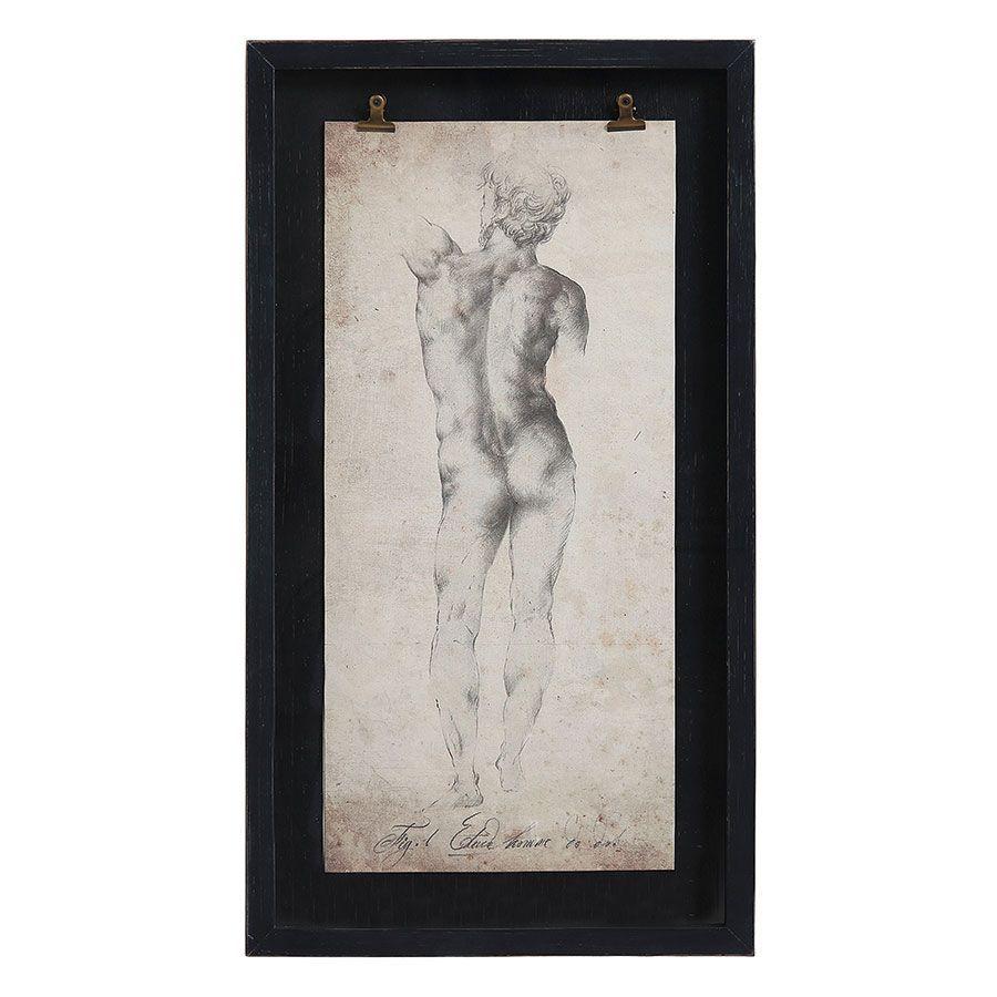 Tableau décoratif gravure homme 50x90