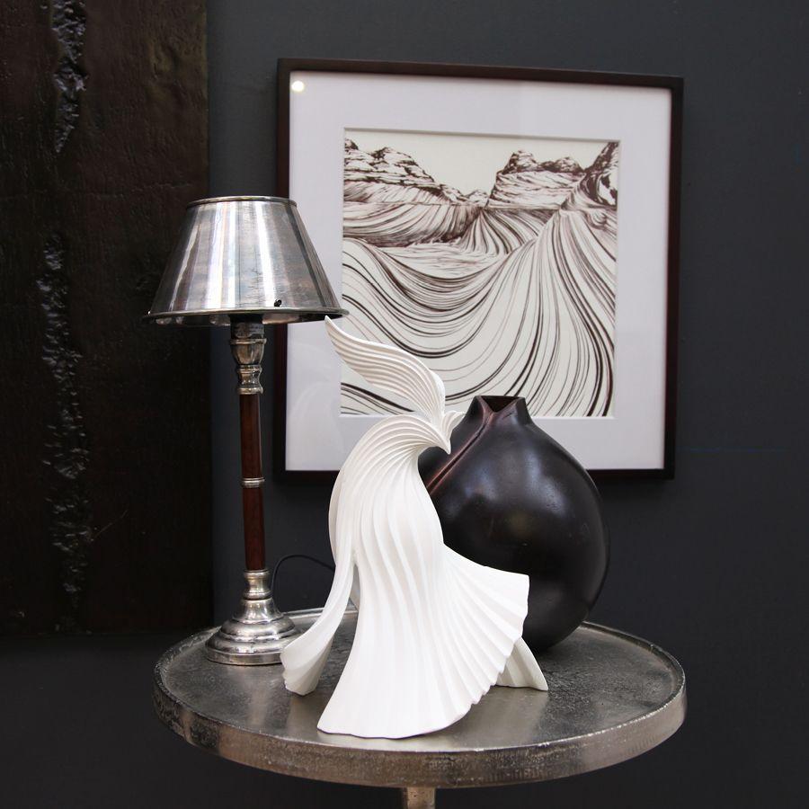 Lampe en chrome et bois