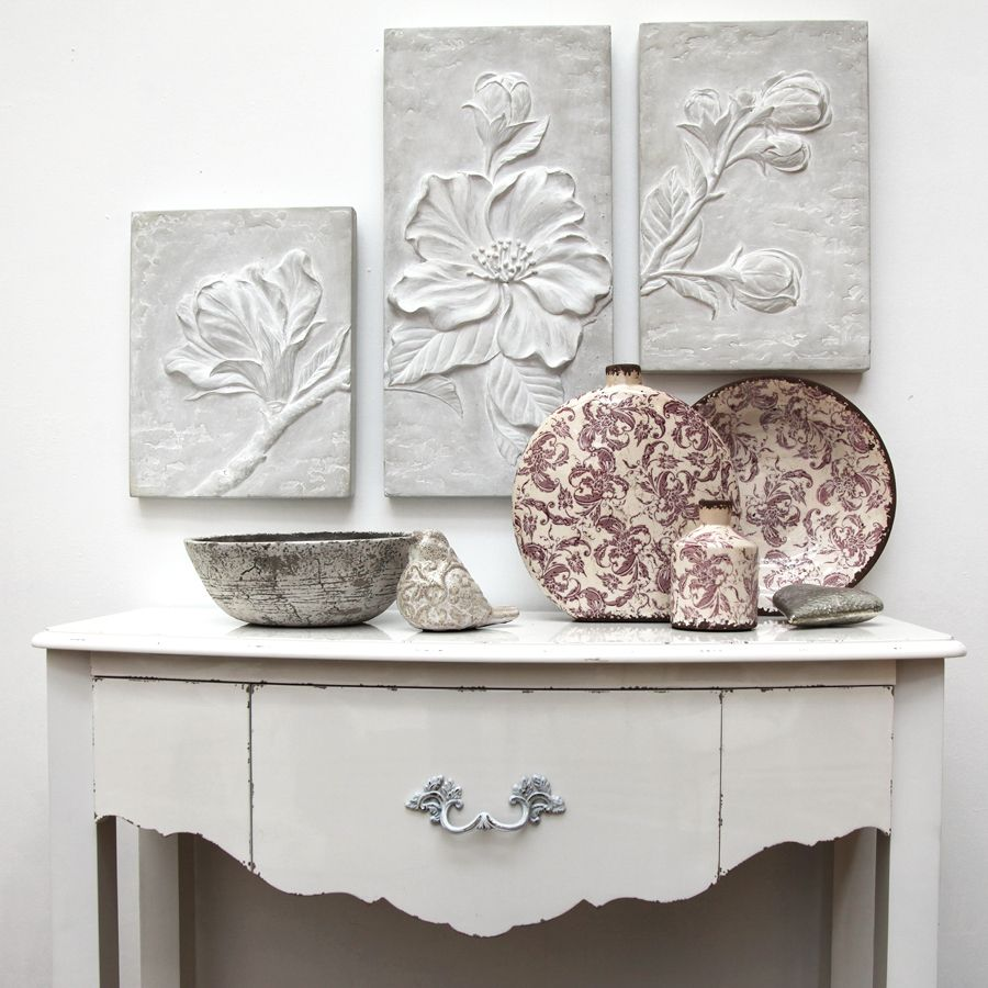 Plateau centre de table en terre cuite floral