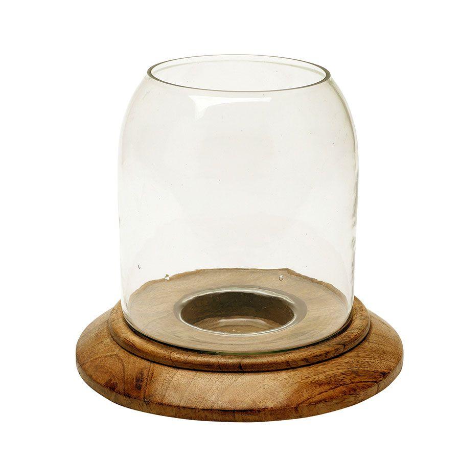 Photophore avec socle en manguier et verre