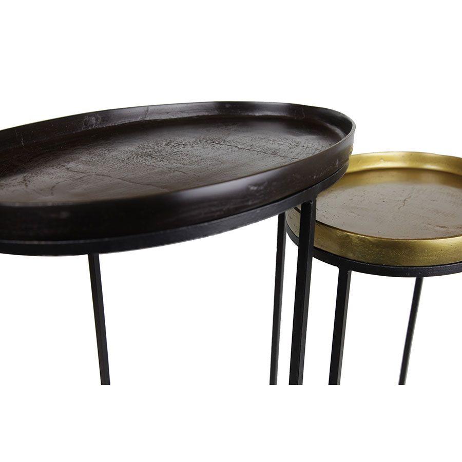 2 guéridons en métal plateaux amovibles - Factory