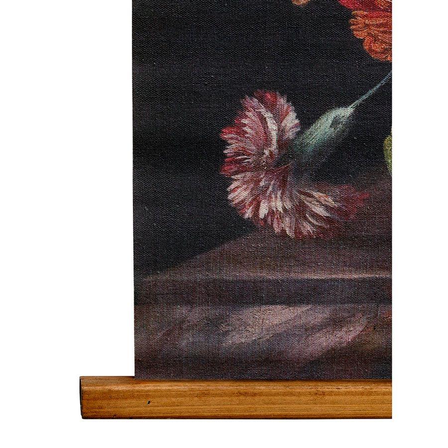 Toile décorative motif floral en lin 80x100