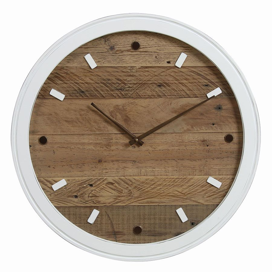 Horloge murale blanche et bois