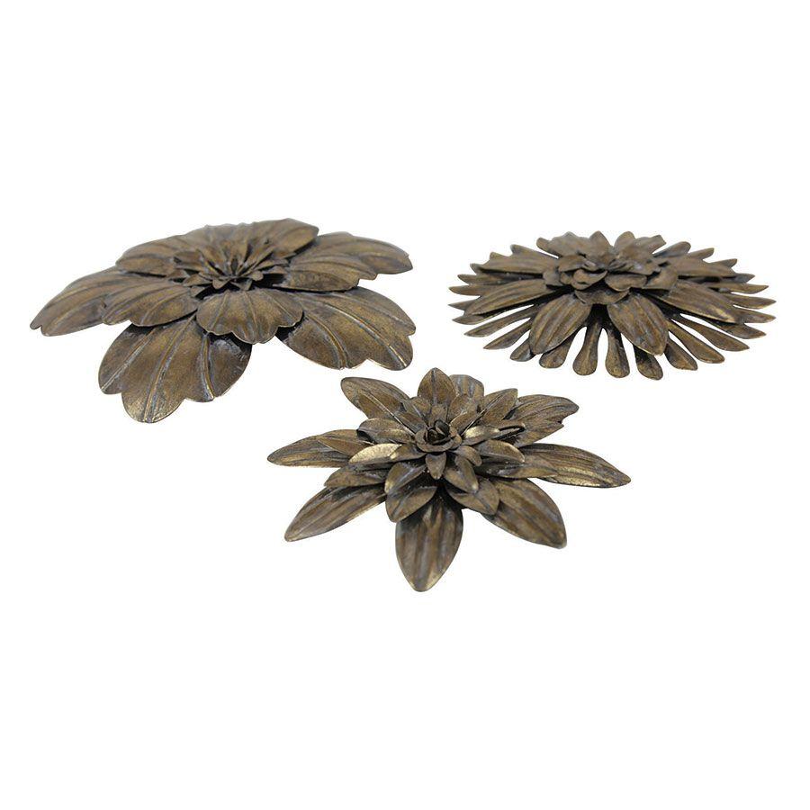 Lot de 3 fleurs en métal