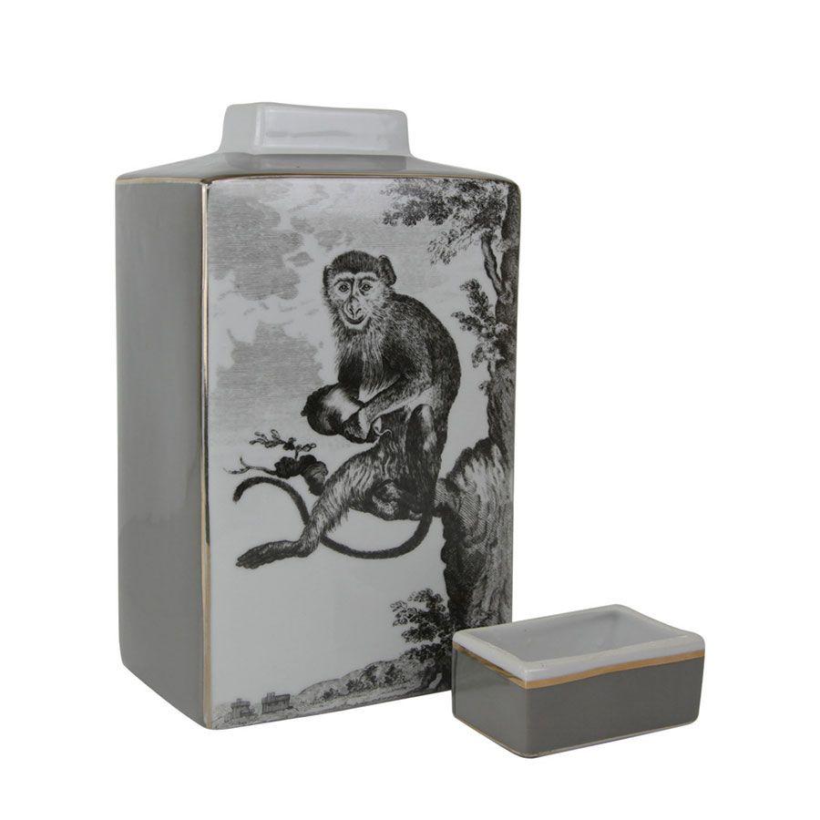 Pot en porcelaine motif singe