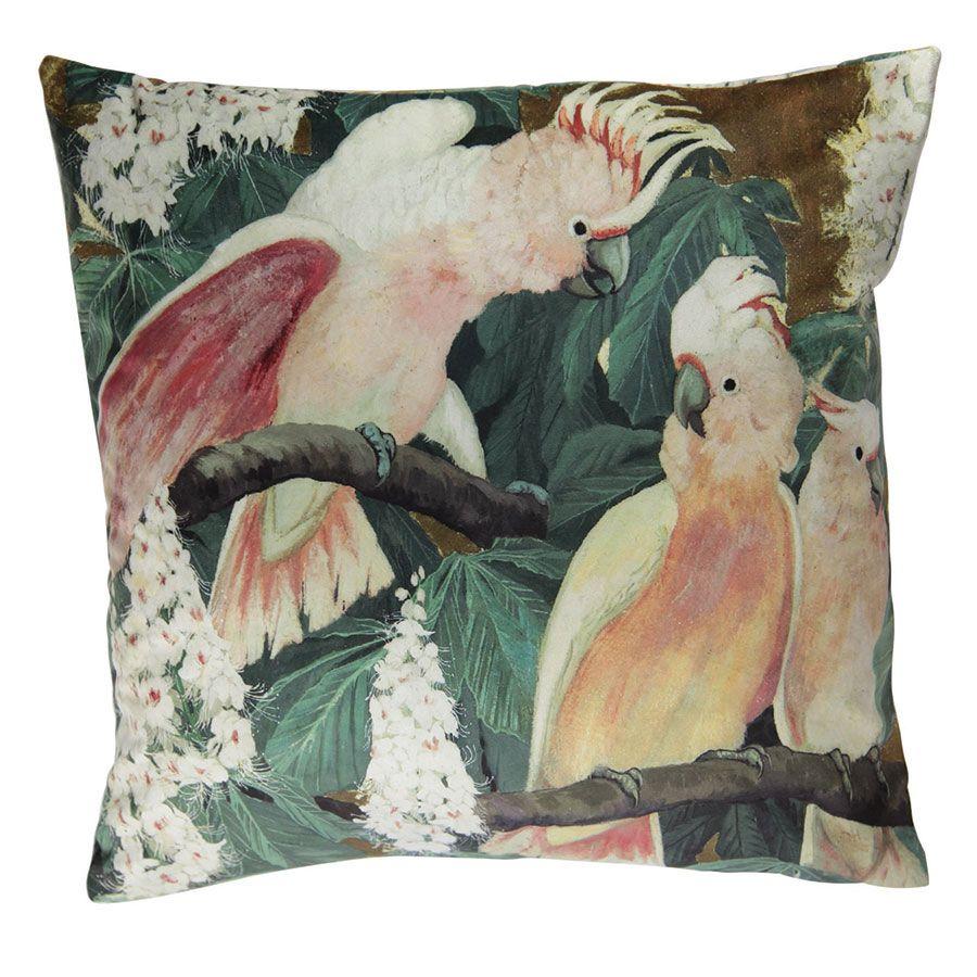 Housse de coussin à motif perroquets 45x45