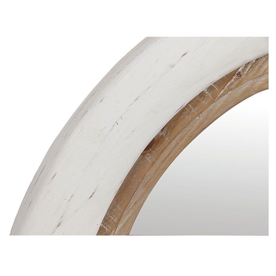 Miroir rond blanc et bois