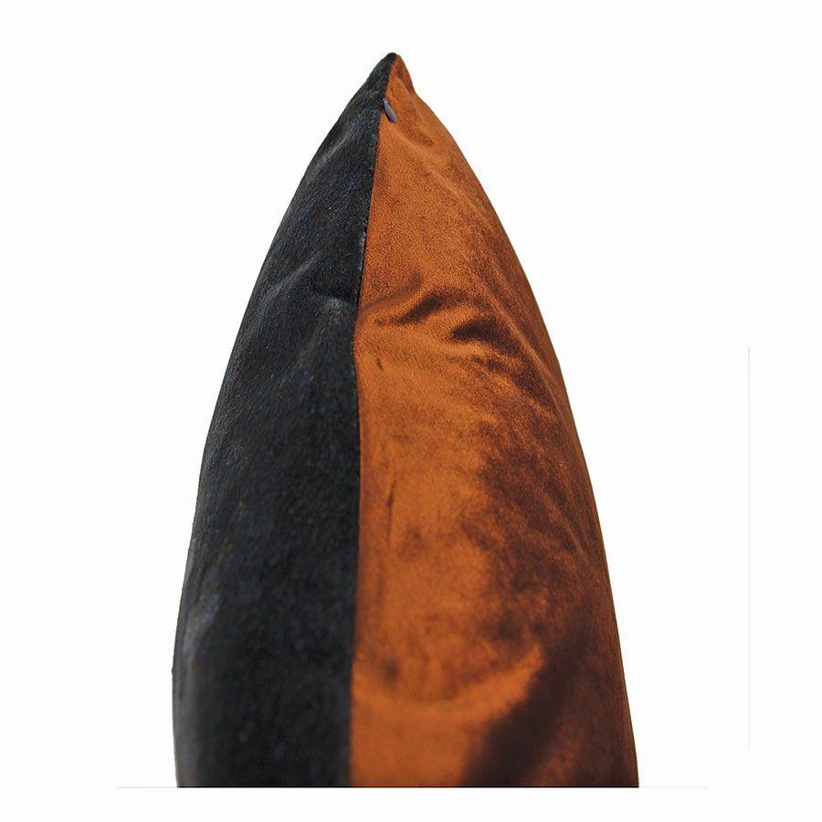 Housse de coussin carrée bleu gris et orange