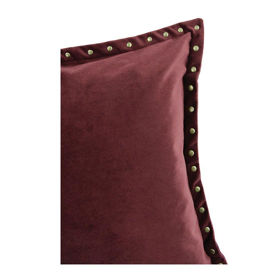 Housse de coussin carrée en velours bordeaux