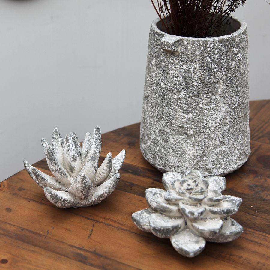 Plante succulente en céramique aspect ciment