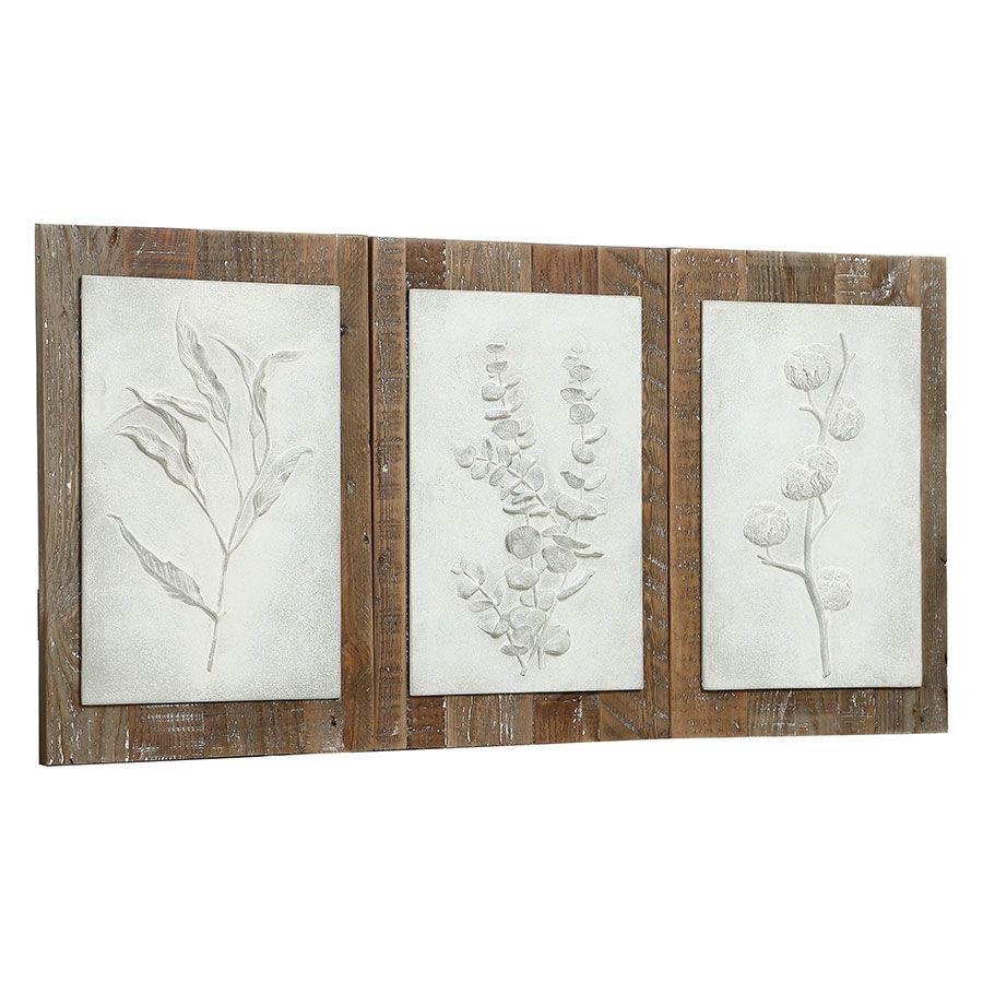 Triptyque de panneaux floraux