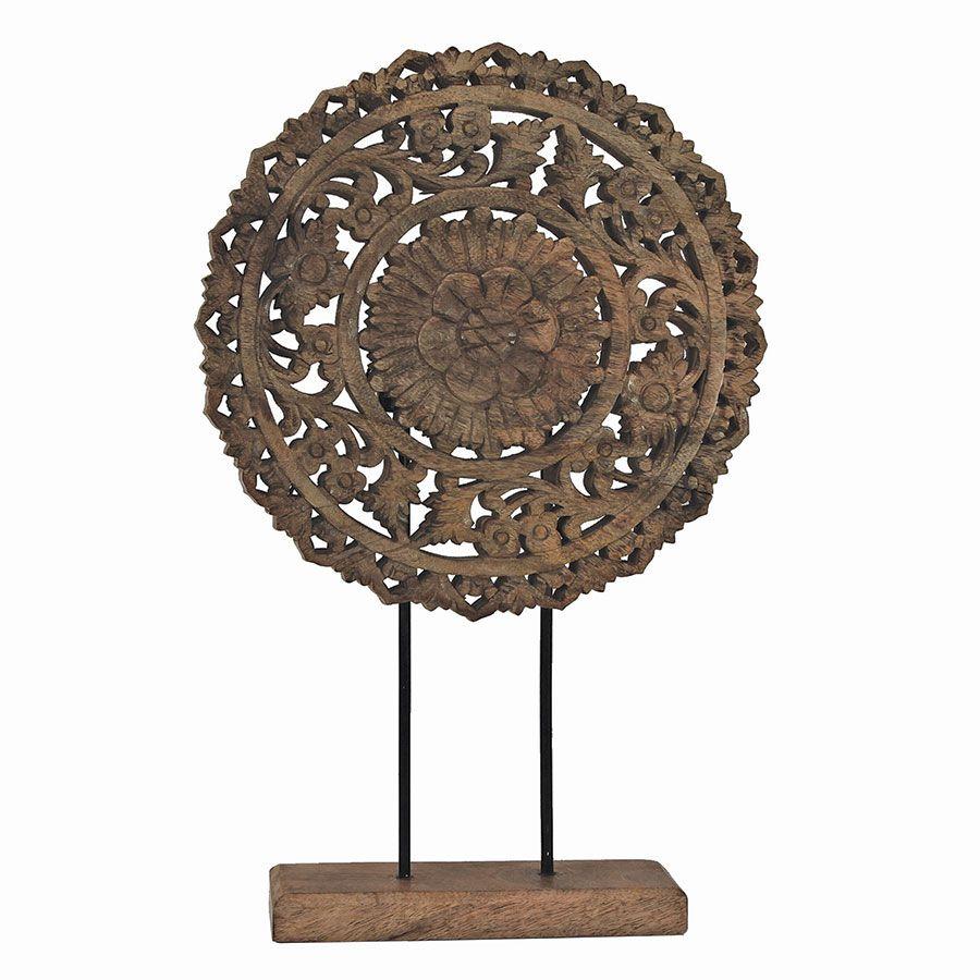 Rosace en bois sculpté