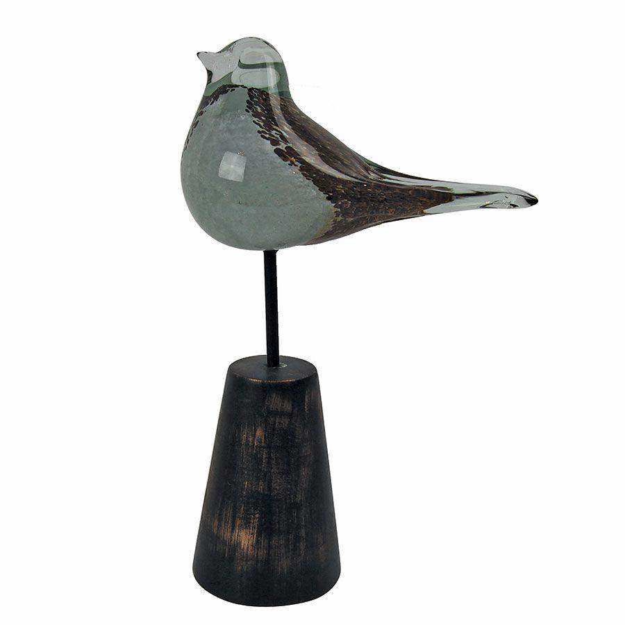 Statue oiseau en verre et métal