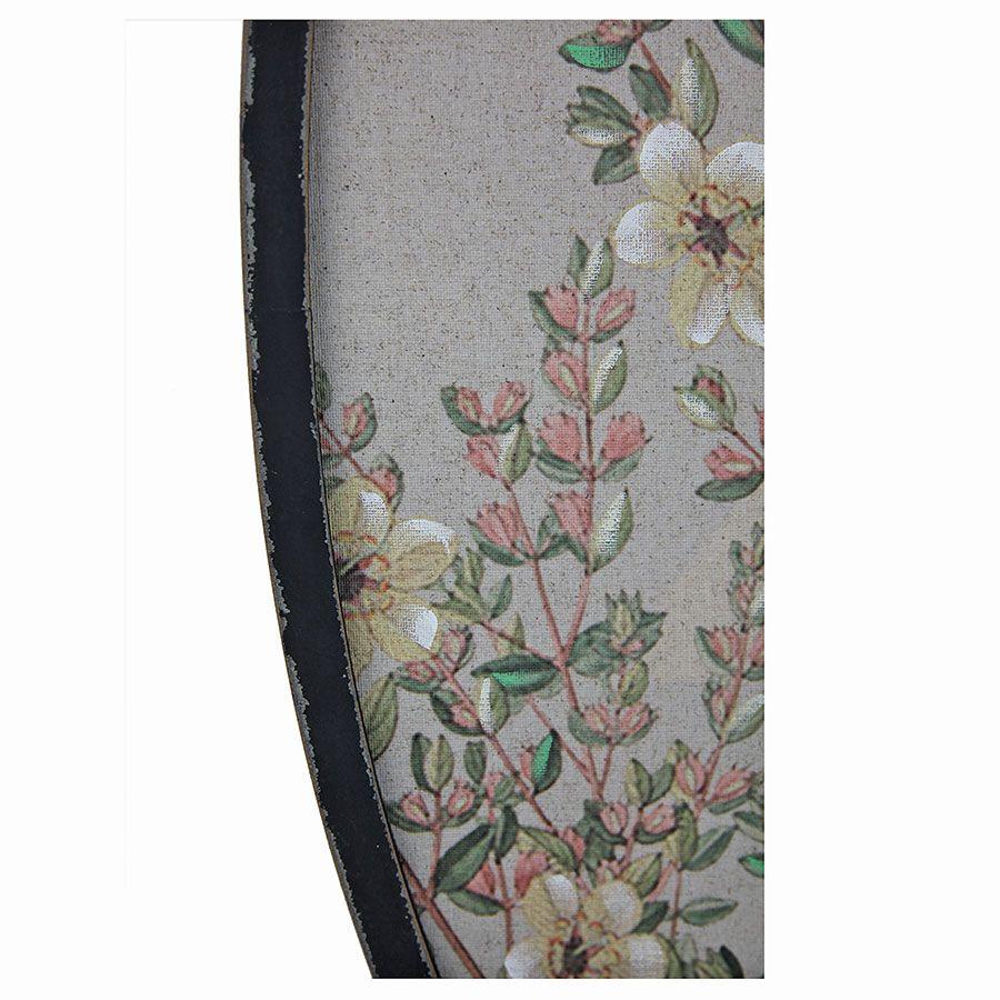 Tableau ovale perruche sur toile de lin