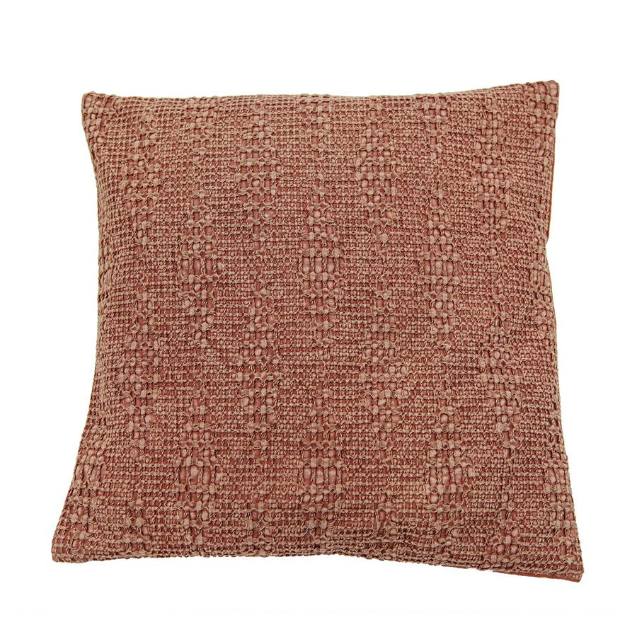 Housse de coussin 40X40 rose orangé en coton tissé