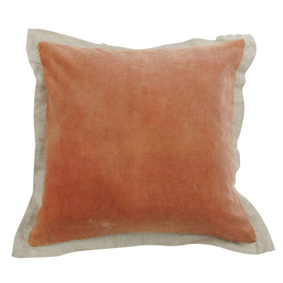 Housse de coussin 45X45 orange effet velours