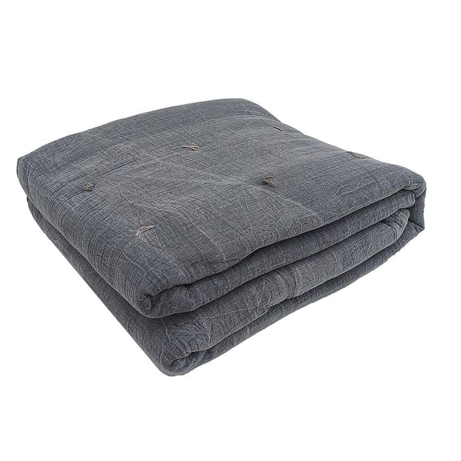 Plaid en coton tissé gris 130X180