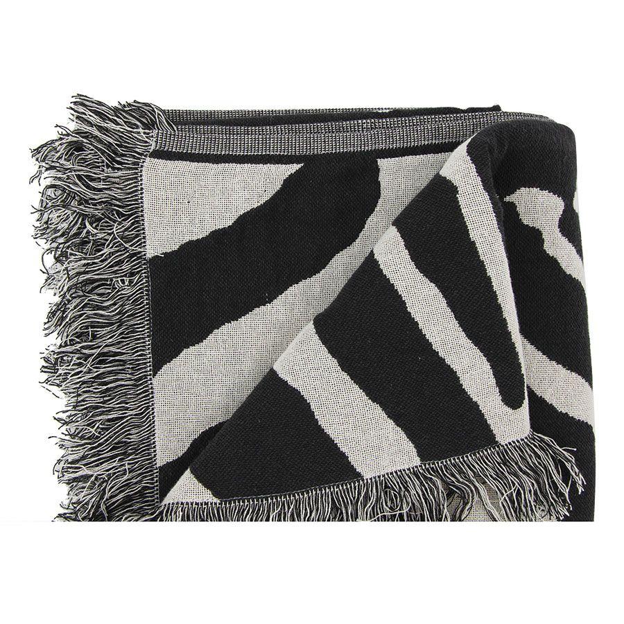 Plaid en coton tissé noir et blanc 130X180