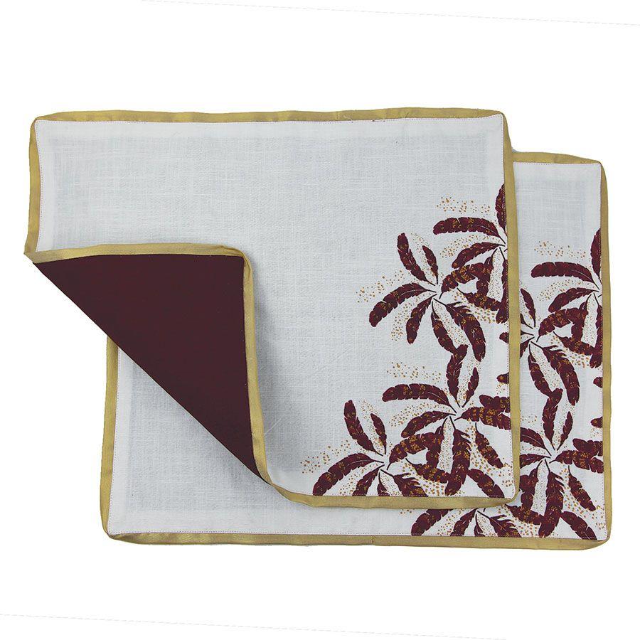 Lot de 2 sets de table blanc et doré à motif plume
