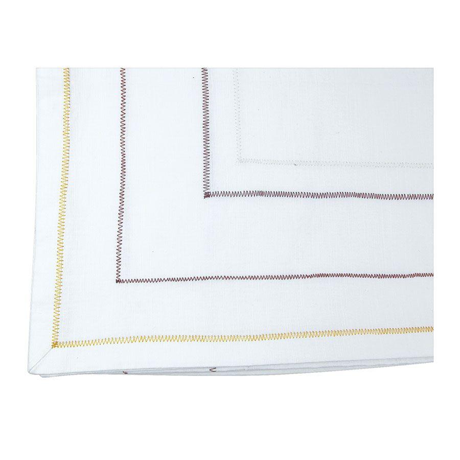 Nappe blanche liserés doré et rouge 170X260