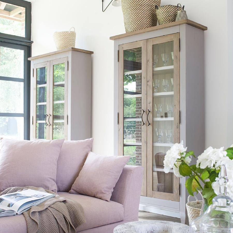 Vitrine grise 2 portes en épicéa massif - Provence
