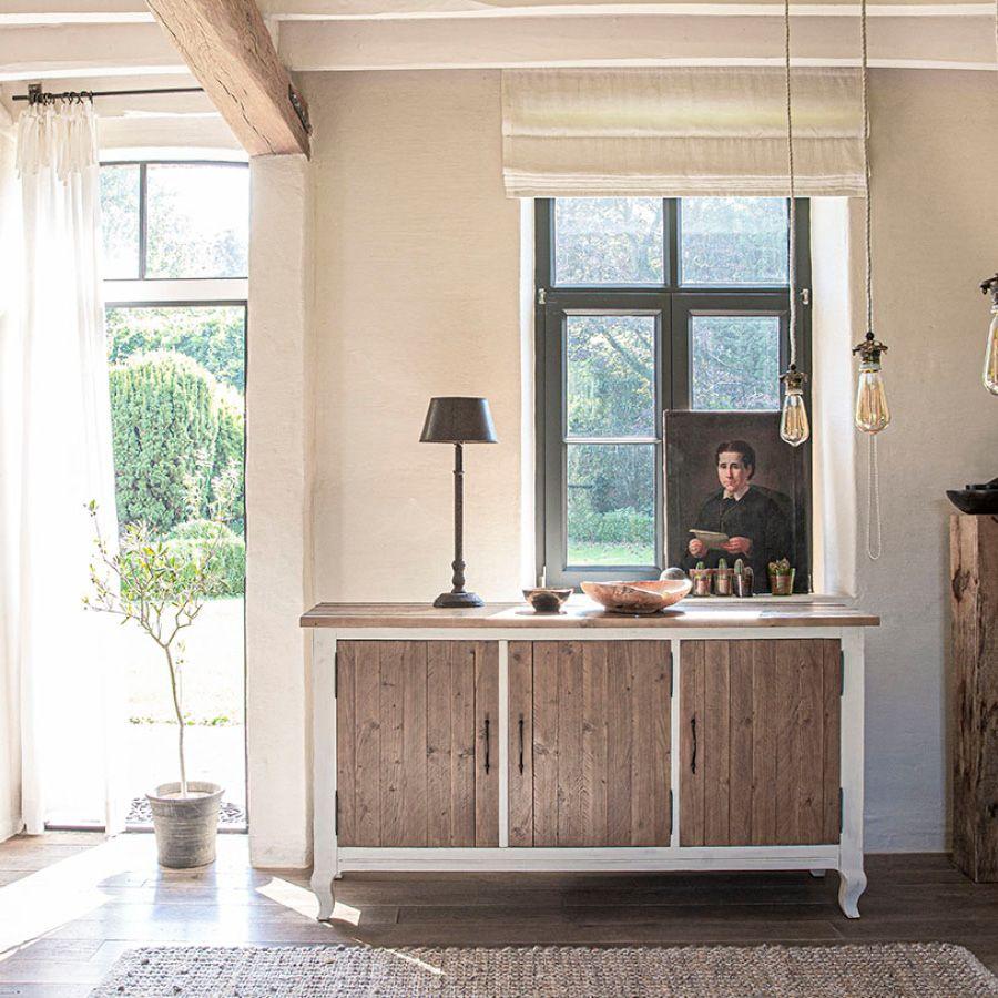 Buffet bas 3 portes en épicéa blanc vieilli - Provence