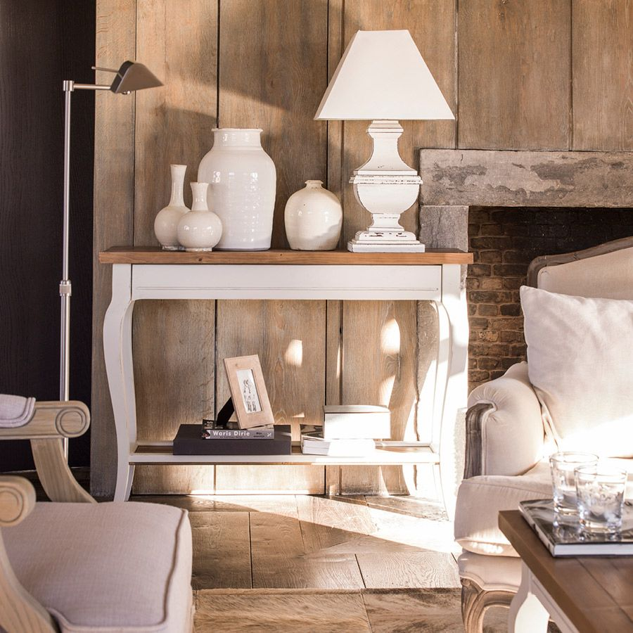 Console blanche 1 tiroir en épicéa massif - Provence